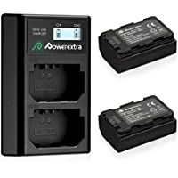 Powerextra 2 Pack Replacement Sony NP-FZ100 Battery 2500mAh And Smart Dual Charger LCD Display for Sony Alpha 9, A9, Alpha 9R, A9R, Alpha 9S, A7RIII, A7R3, a7 III Camera
