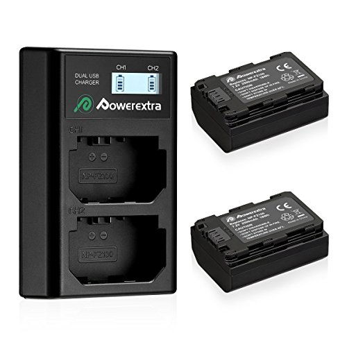 Powerextra 2 Pack Replacement Sony NP-FZ100 Battery 2500mAh and Smart Dual Charger LCD Display for Sony Alpha 9, A9, Alpha 9R, A9R, Alpha 9S, A7RIII, A7R3 Camera