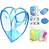 TriEcoWorld (BUY 3pcs at 2pcs price) High Quality Laundry Basket Foldable Pop Up Mesh Washing Bag Bin Hamper Toy Tidy Storage Clothes Underwear Case Frame, Aqua Blue