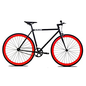 Golden Cycles Fixed Gear Bike Steel Frame Fixie with Deep V Rims Collection (V Red, 52)