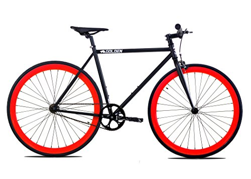 Golden Cycles Fixed Gear Bike Steel Frame Fixie with Deep V Rims Collection (V Red, 55)