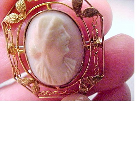 Dainty 10kt Gold Victorian Cameo w/ Diadem Filigree Ornate Art Deco Setting, Hand Carved About 100 Years Ago, Shell Cameo Brooch. Pendant Adapter Available
