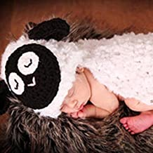 KAKA(TM) Lovely Newborn Crochet Knitted Baby Costume Baby Photo Photography Prop Clothes-Milky White Sheep Costume