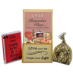 80th Birthday Gift Basket Box - Live Your Life - with 1938 Trivia Booklet