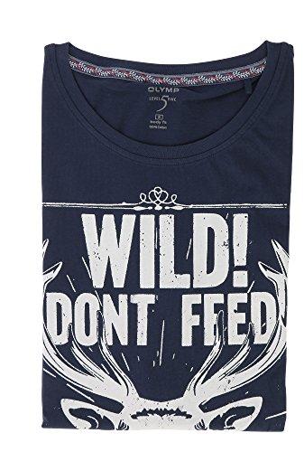 OLYMP T-Shirt Level Five body fit Rundhals mit Frontprint blau