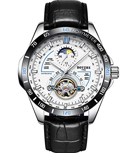 BOYZHE Men Leather Mechanical Watch Automatic Tourbillon Sports Digital Watches Luxury Luminous Waterproof Calendar Wristwatches (BOYZHE-WL-019P-White)