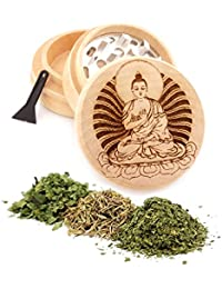 Want Buddha Engraved Premium Natural Wooden Grinder Item # PW91316-16 lowestprice