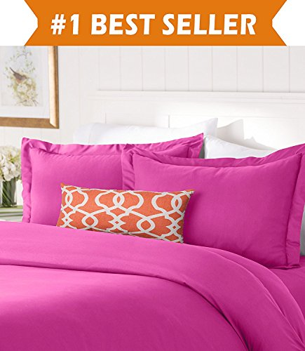 Elegant Comfort #1 Best Bedding Duvet Cover Set! 1500 Thread Count Egyptian Quality Luxurious Silky-Soft Wrinkle Free 3-Piece Duvet Cover Set, Full/Queen, Hot - Bedding Hot Pink