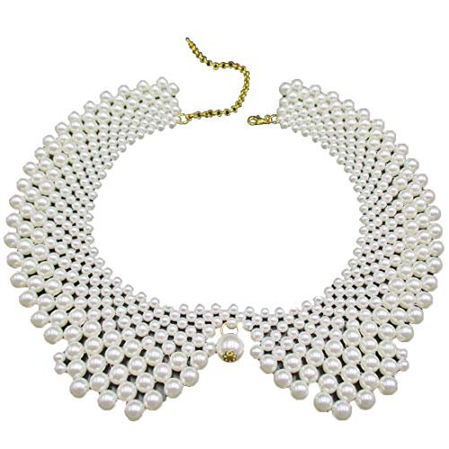 Trimscraft Handmade Faux Pearls Detachable False Collar Necklace Women Clothing DIY Craft Supply in White ()