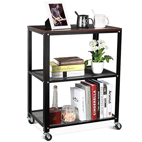 Wire Cart Open (HOMFA 3-Tier Rolling Serving Cart Utility Kitchen Trolley Storage Cart on Wheels Easy Moving Mesh Wire Shelves with Walnut Surface)