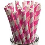 Pink Striped Paper Straws x 100 by Yolli