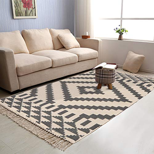 Moroccan Cotton Area Rug 4' x 6', KIMODE Washable Hand Woven Print Tassel Chic Modern Diamond Collection Rugs with Non-Slip Pads for Bathroom,Bedroom,Living Room,Laundry Room