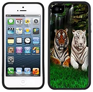 Bengal & White Tiger Handmade iPhone 5 5S Black Case