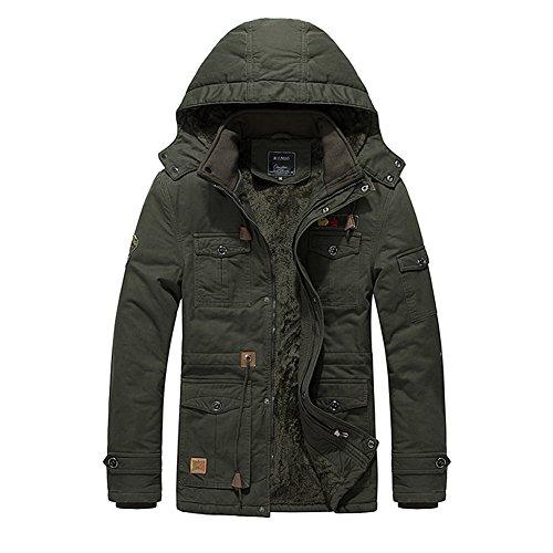 H.T.Niao Jacket9933C1 Winter Korean Men Plus Velvet Jackets(Army Green,Size (Greek Letterman Jacket)