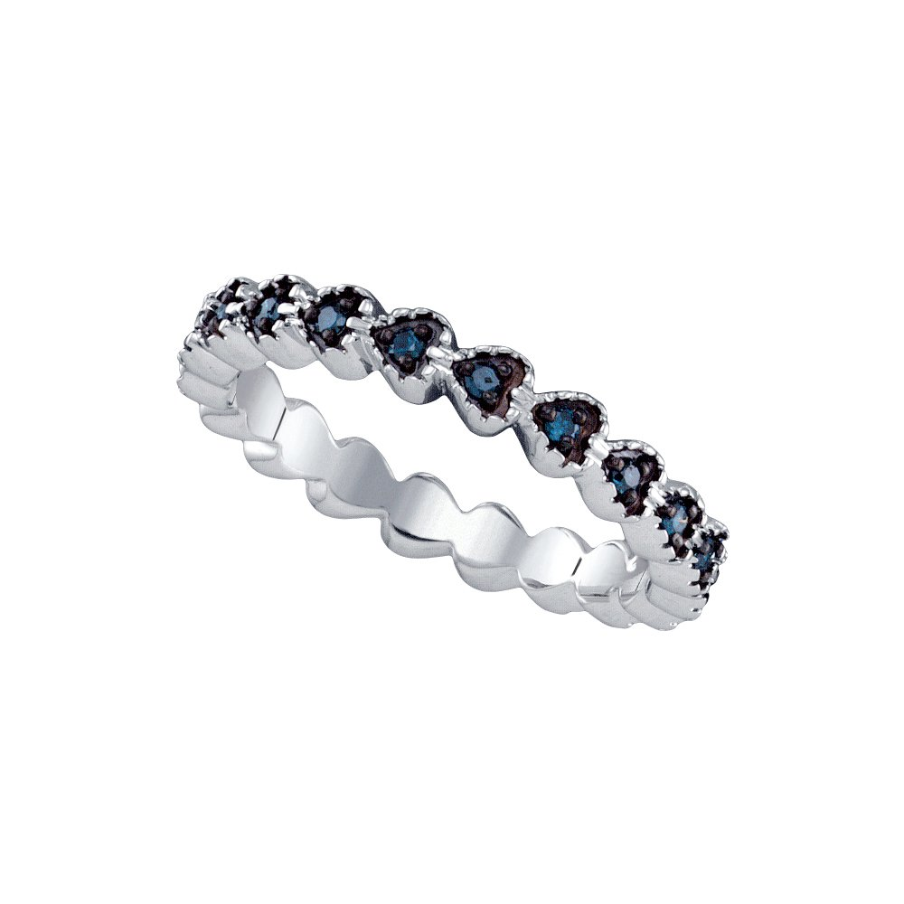Sterling Silver Black Colored Diamond Heart Near-Eternity Wedding Anniversary Band Ring 1/5 Cttw (I2-I3 clarity; Black color)