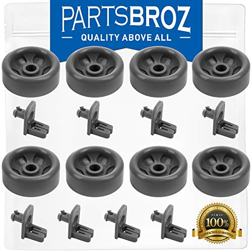 WD12X10136 & WD12X10277 (8-Pack) Lower Dishrack Roller & Axle Kit for GE Dishwashers by PartsBroz – Replaces WD35X21041, AP5986366, WD12X10277, PS11725221, WD12X10107, WD12X10126, WD12X10261