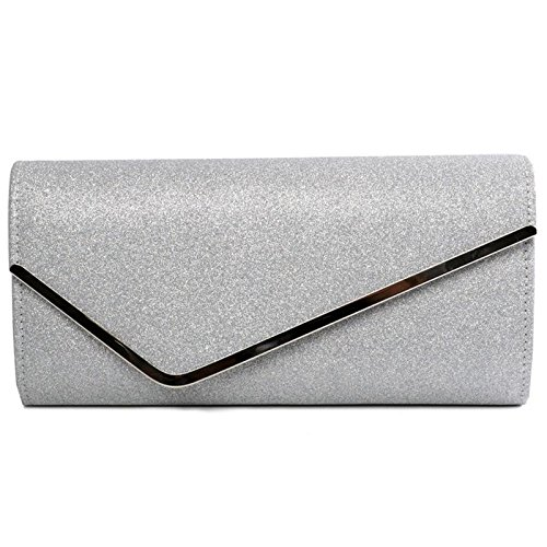 Bag Women's Envelope Wedding Over Clutch Shimmery Handbag Shiny Ladies Silver Flap Evening style q66Rt