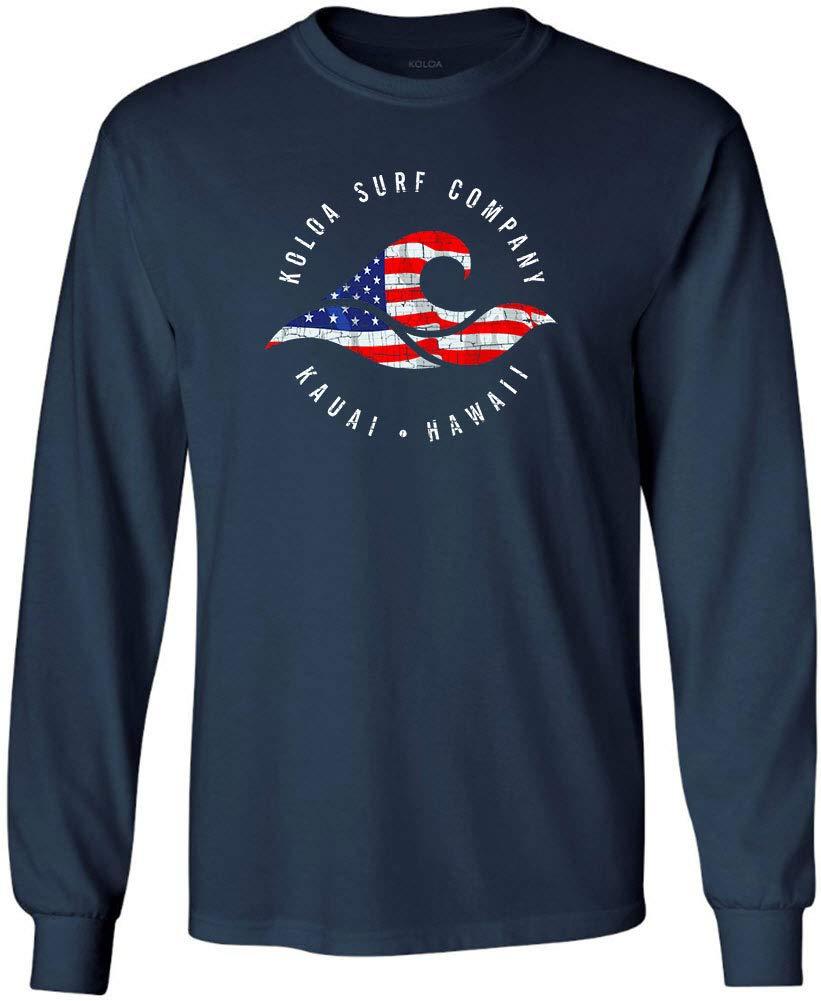 Koloa Surf Vintage USA Flag Wave Logo Long Sleeve Shirt-Navy/c-S