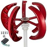Happybuy Wind Turbine 300W 24V Wind Turbine Generator Red Lantern Vertical Wind Generator 5 Leaves Wind Turbine Kit with Controller No Pole (300W 24V, Red)