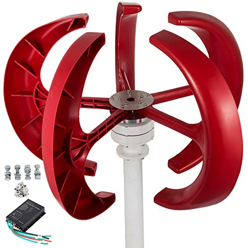 Happybuy Wind Turbine 400W 12V Wind Turbine Generator Red Lantern Vertical Wind Generator 5 Leaves Wind Turbine Kit with Controller No Pole (400W 12V, Red)