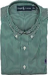 Polo Ralph Lauren Men's Custom-Fit Striped Sport Shirt, Green, XL