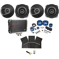 "4) Polk Audio MM522 5.25"" 1200 Watt Car Audio Speakers+Amplifier+Amp Kit+Rockmat"