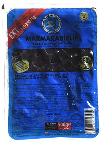 Turkish Black Olives - Marmarabirlik Extra Siyah Zeytin 500 G / 17.6 oz, 321-350/kg Pack of 2