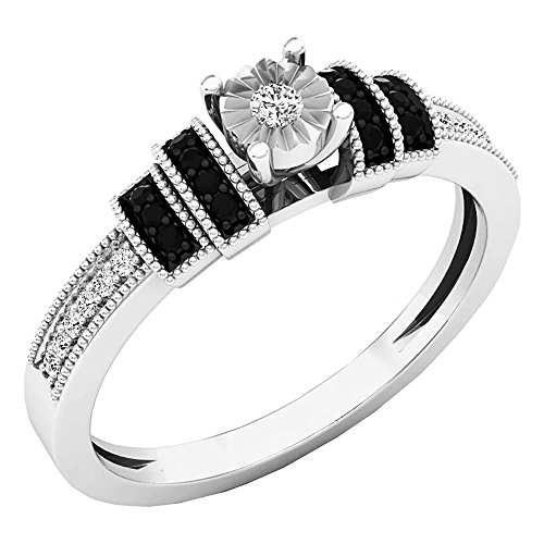(Dazzlingrock Collection 0.15 Carat (ctw) Sterling Silver Round Black & White Diamond Ladies Engagement Ring, Size 6)