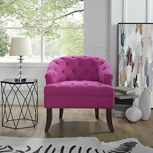 Delilah Fuchsia Linen Accent Chair - Barrel Shaped Back | Upholstered Button Tufted | Inspired Home