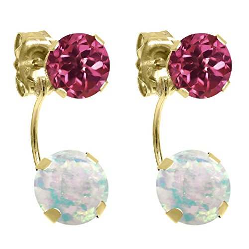 Gem Stone King 2.30 Ct Round Cabochon White Simulated Opal Pink Tourmaline 14K Yellow Gold Earrings