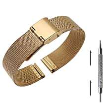 Pinhen 14mm Quick Release Watchband Mesh Stainless Steel Metal Watch Band Strap Bracelet for ASUS Zenwatch 3 / Pebble Time Round and Other Watches with 14mm Wide (Gold)