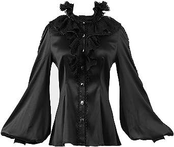 Punk Rave – Camisa Negra con buche y Manga bouffantes Pirata Elegante gótica Negro XL: Amazon.es: Ropa y accesorios