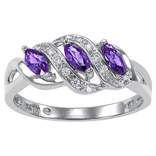 ArtCarved Heart Charm Simulated Amethyst Birthstone Women's Ring, Sterling Silver, Size (Sisters Birthstone Heart Ring)