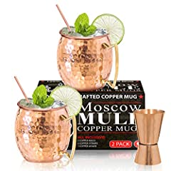 A Moscow mule is not a real Mule without 100% handcrafted, solid pure Copper. Order now and receive your Set of 2 Authentic polished mugs with free Copper straws and Jigger. #1 Recommended gift idea drinks just taste better in solid copper. …...