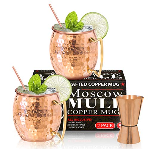 - Benicci SYNCHKG100599 Moscow Mule Copper Mugs - Set of 2 16 Ounce Mug with 2 Copper Straws and 1 Jigger, Hammered and Handcrafted