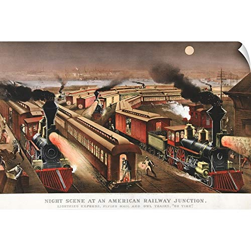 CANVAS ON DEMAND Night Scene at an American Railway Junction Wall Peel Art Print, 60
