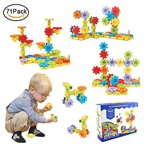 JIXUN Building Block Toys Set- Gears Building Educational Learning Toys Interlocking Solid Gear Set(71 PCS)