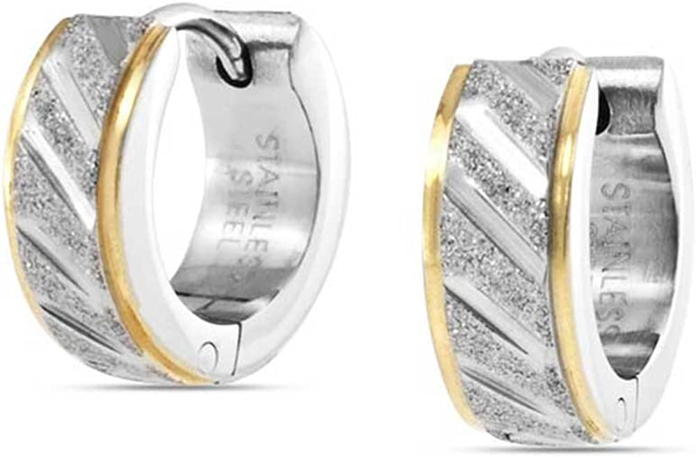 Golden Rose Silver Tone Two Tone Stainless Steel Carved Stardust Matte Wide Hoop Huggie Earrings For Men For Women