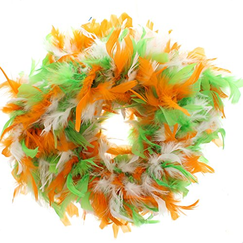 Costumes Ireland Themed (Zac's Alter Ego Women's Orange, White & Green Irish Themed Feather Boa 1.8M)
