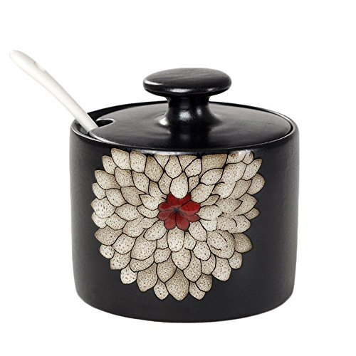 Japanese Style Ceramic Floral Sugar Bowl with Lid and Spoon -