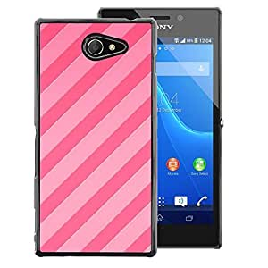 A-type Arte & diseño plástico duro Fundas Cover Cubre Hard Case Cover para Sony Xperia M2 (Candy Pink Lines Parallel Pattern Fuchsia)