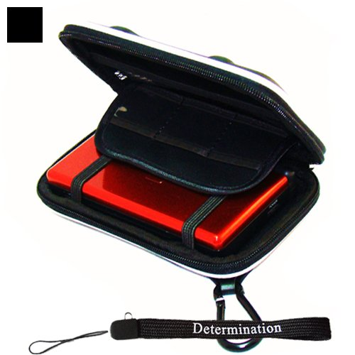 Kroo Eva Cube Carrying Zipper Case (Black) with Determination Hand Strap For Nintendo DSi DS Lite (Case Black Cube Kroo)