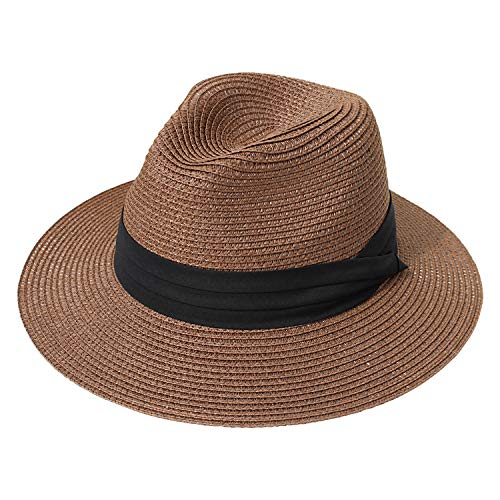 DRESHOW Women Straw Panama Hat Fedora Beach Sun Hat Wide Brim Straw Roll up Hat UPF 50+ (Fedora Coffee)]()