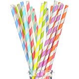 """175 Count Striped Paper Straws for Party, Events and Crafts 7 3/4"""" in Assorted Rainbow Colors of Special Curation (Striped)"""