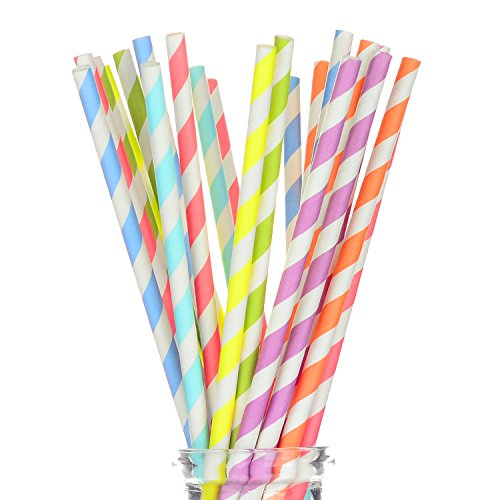 "(175 Count Striped Paper Straws for Party, Events and Crafts 7 3/4"" in Assorted Rainbow Colors of Special Curation (Striped))"