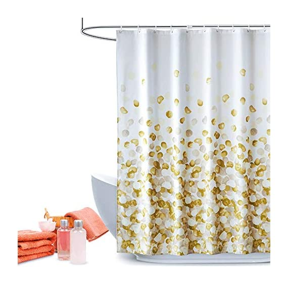 ARICHOMY Shower Curtain for Bathroom Fall Fabric Curtains Set Waterproof Colorful Flower Golden Gold Color with Standard… - The shower curtain is golden color, Large digital printed design is with vibrant colors, clear image, no fading. It is gorgeous and brightens up your bathroom tremendously. The curtain is is made of high quality durable microfiber fabric, 100% polyester waterproof, Non vinyl, Non PEVA, Environmentally friendly, dries quickly. The shower curtain for bathroom size of 72 x 72 inch will fit standard size shower / tub areas, No liner needed. - shower-curtains, bathroom-linens, bathroom - 51c1a nbUmL. SS570  -