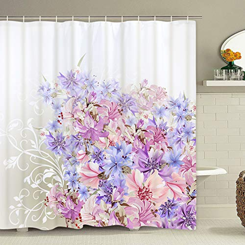 Colorful Flowers Shower Curtain with 12 Hooks Watercolor Pink and Purple Lily Flower Shower Curtain for Bathroom, Polyester Waterproof Fabric Shower Curtain (And Purple Curtain Pink Shower)