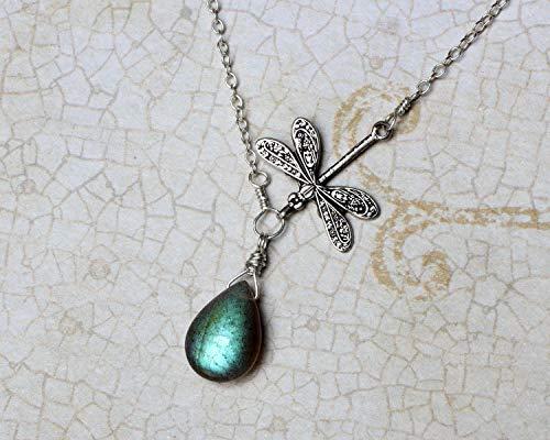 Labradorite Necklace, Dragonfly Necklace, Labradorite Pendant, Blue Labradorite Jewelry, Sterling Silver, Handmade, CircesHouse,