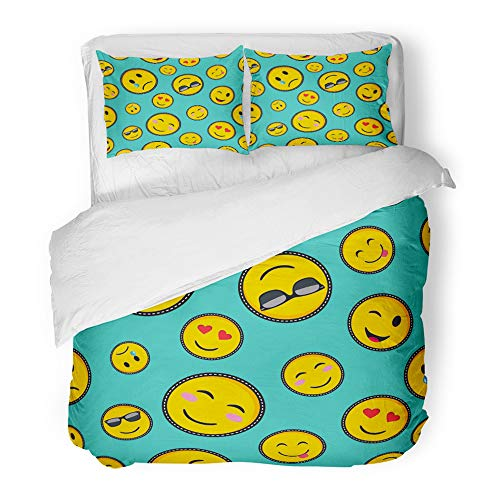 Emvency Decor Duvet Cover Set Full/Queen Size Colorful Patch with Vibrant Color Emoji Smiley Face Trendy Texting Symbols in Pop Style Green Cute Fun 3 Piece Microfiber Fabric Print Bedding Set Cover -