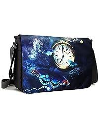 Meffort Inc 17 17.3 Inch Laptop / Notebook Padded Compartment Shoulder Messenger Bag - Clock Butterfly 1